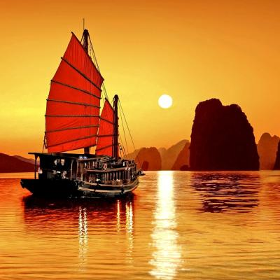 Sunset in Halong Bay Vietnam