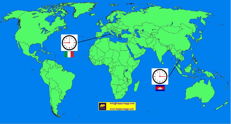 Cartina Fusi Orari Mondo.Fuso Orario Tra Italia E Cambogia