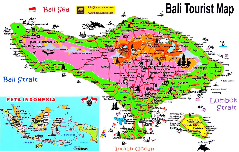 Cartina Geografica Dell Indonesia.Isola Di Bali Carta Geografica E Mappa Turistica