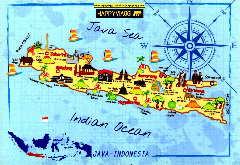 Cartina Dell Indonesia.Isola Di Giava Carta Geografica Mappa Turistica