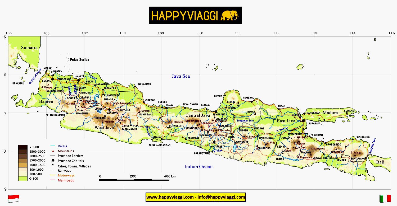 Cartina Bali Indonesia.Isola Di Giava Carta Geografica Mappa Turistica