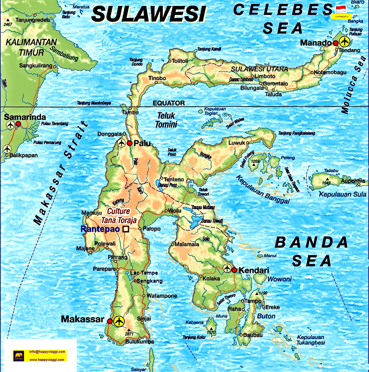 Cartina Geografica Dell Indonesia.Carta Geografica Isola Di Sulawesi