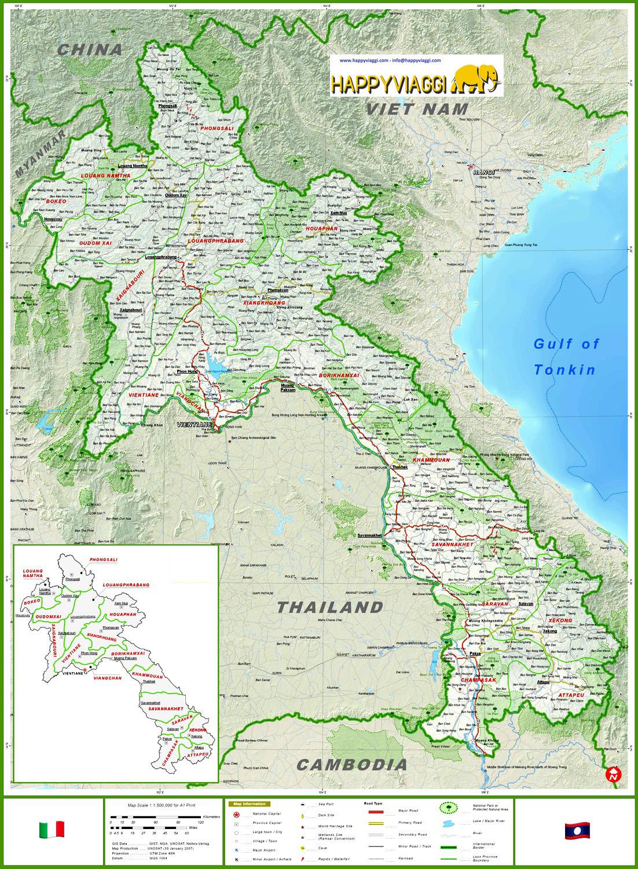 Tra Vietnam E Thailandia Cartina Geografica.Laos Cartina Geografica Mappa Turistica