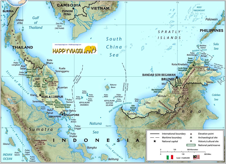 Cartina Politica Italia E Confini.Malesia Carta Geografica Mappa Turistica