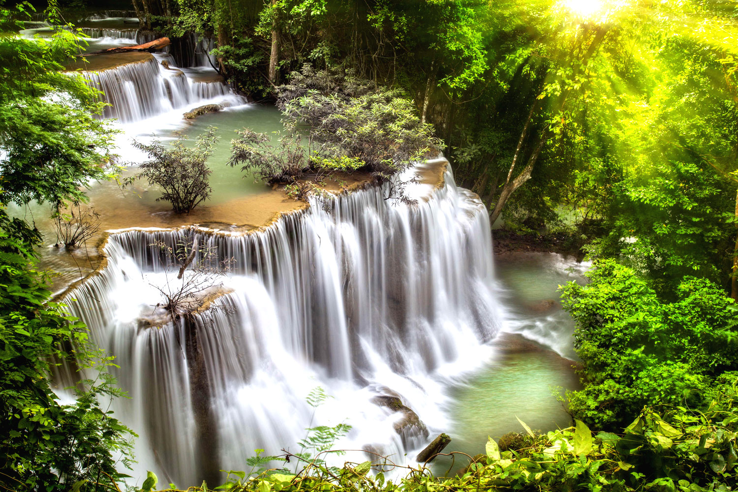 Erawan National Park Kanchanaburi: waterfall, cascate