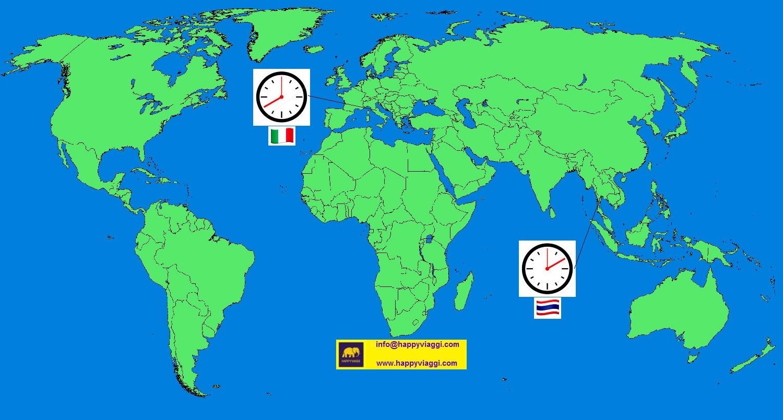 Cartina Italia Thailandia.Fuso Orario Tra Thailandia E Italia