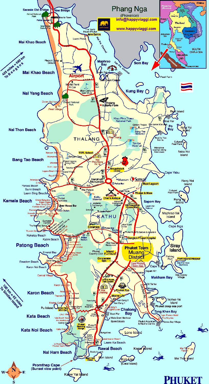 Thailandia Cartina Geografica.Phuket Carta Geografica Mappa Turistica